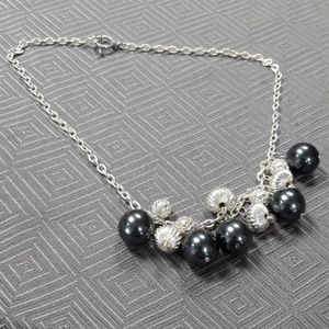 Jewelry - Gray Faux Pearl and Silvertone Beaded Necklace